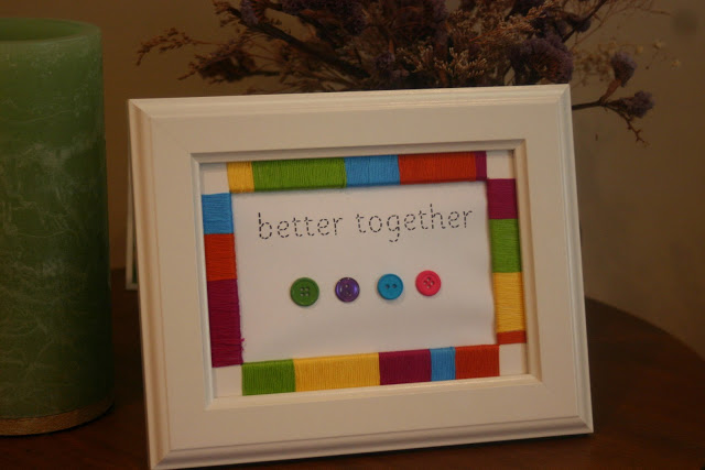 Embroidery Thread Wrapped Picture Frame Lines Across