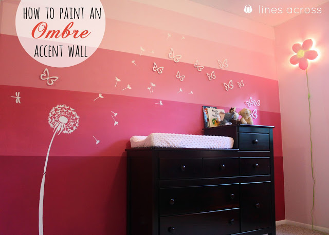 How to paint an ombre accent wall lines across - Purple ombre wall ...