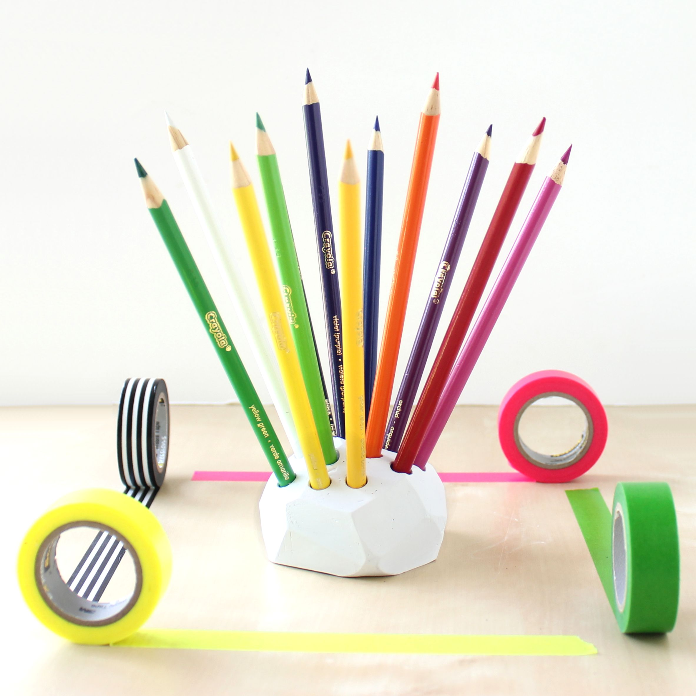 Geometric Colored Pencil Holder Lines Across